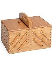 Hobbygift 3-Tier Cantilever–Caja de Costura, Madera, Mid Sombra/Marrón