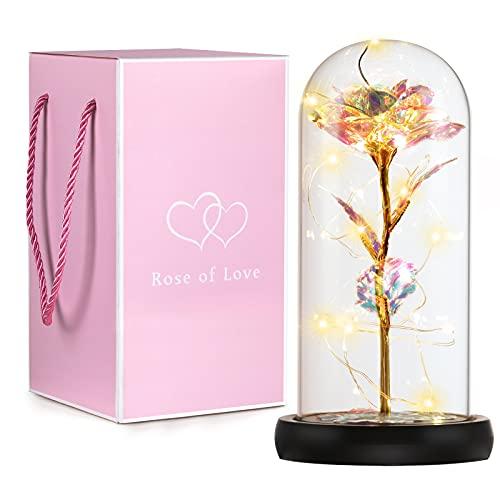 Roylvan Flor con Cadena de Luces LED en Botella de Vidrio, 22 cm Rosa Artificial Decorativa Lámpara de Mesa Frasco Cristal Elegante Romántico Regalo para Fiesta Aniversario Boda Navidad, Multi