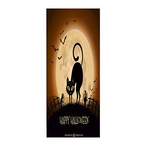 VOSAREA Cubierta de Puerta de Halloween Decoración de Puerta de Halloween Suministros de Accesorios de Fiesta de Halloween