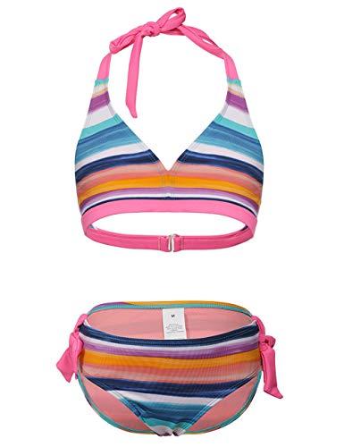 DUSISHIDAN Bikini MädchenKinderSommer Badeanzug UV-Schutz Zweiteiliger Bademode Hängende Hals Bikinis, Blauer Farbstreifen, 110-122 S(4-6)
