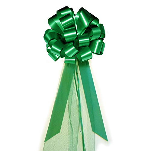 "Emerald Green Wedding Pull Bows with Tulle Tails - 8"" Wide, Set of 6"