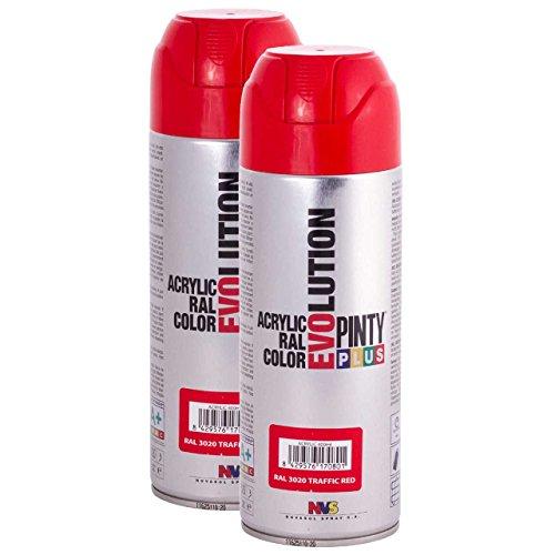 Pintyplus Evolution - Pintura en aerosol – Rojo Traffic – RAL 33003 – 11 onzas – Pack de 2 – Pintura acrílica de secado rápido, para metal, madera, piedra, cartón y papel ⭐