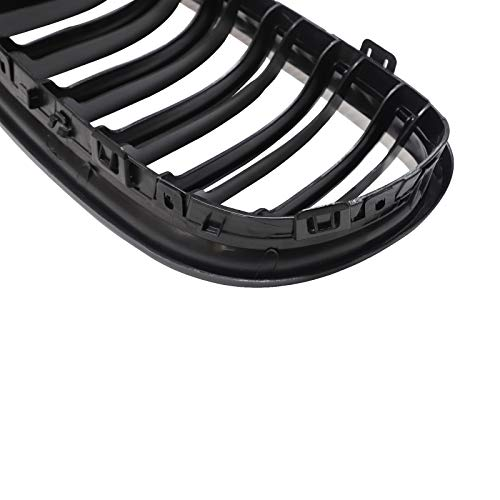 JUEDIMA E91 Grille - Gloss Black M-Color Front Replacement Kidney Grille Grill Compatible with 2009 2010 2011 BMW E90   E91 3-Series Sedan/Wagon Twin Slat Fins Grille
