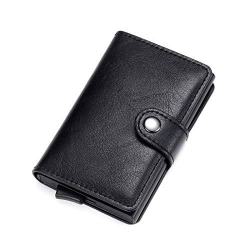 Moderna Cartera de Piel Minimalista con Tarjetero RFID de Aluminio, con Caja de Regalo, Negro (Negro) - LF Wallet