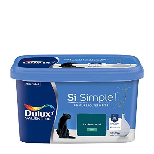 Dulux Valentine Peinture Si Simple - Murs, Plafonds, Portes et Plinthes Toutes Pièces - Satin le Bleu Canard 2,5L