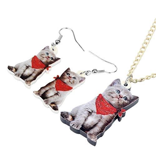 AMINIY Acrílico Lindo Bufanda Roja Gatito Cat Collar Pendientes Pendientes Juego Juego De Joyas Unique Niña Adolescente Charm Regalo Decoración del Partido (Color : 1)