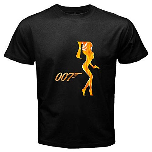 New James Bond 007 UK Agent Movies Pierce Brosnan Men's Black T-Shirt S to 3XL Black XXL