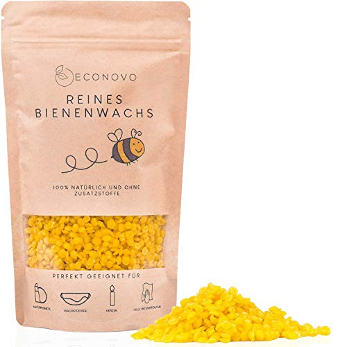 Econovo® zertifiziertes Bienenwachs ohne Zusätze - 500g gelbe Bienenwachs Pastillen vom Imker für Kosmetik, Bienenwachstücher, Kerzen, Holz- und Lederpflege (inkl. E-Book mit Rezepten)