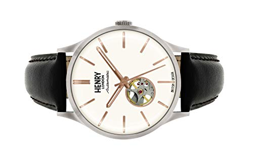 Henry London Gents Heritage Automatic Black Leather Strap Watch HL42-AS-0279