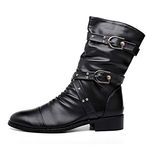 Martin Boots Herren Punk Gothic Stiefel Buckle Abrieb Unisex Stiefel Plateaustiefel Herbst Winter High-Top Riding Long Boots,Black-48