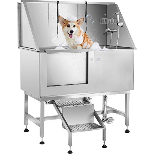 Tuorren 50 Inch Dog Grooming Tub Professional Stainless Steel Pet Dog Bath Tub with Steps Faucet & Accessories Dog Washing Station Left-Door