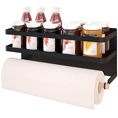 Magnetic Paper Towel Holder for Refrigerator Magnetic Kitchen Towel Bar,Storage Organizer Magnetic Paper Towel Rack Multi Function for Kitchen,Bathroom, Drill Free (Medium, Black)