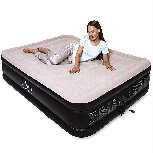 """Sleepah Air Mattress with Built in Pump - Queen Inflatable Bed –Premium Elevated Blow Up Air Bed (18"""" High) - Indoor & Outdoor - W/Back Support for Adults & Kids -Inflates in 3 Min + Carry Bag (Beige)"""