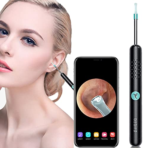 BEBIRD Ear Wax Removal,Ear Cleaner,Ear Wax Removal with Camera,6 LED Light Otoscope 1080P HD Ear Endoscope ,Compatible iOS Android Phone Tablet,for Ear Inspection for Adults Kids and Pet (Black