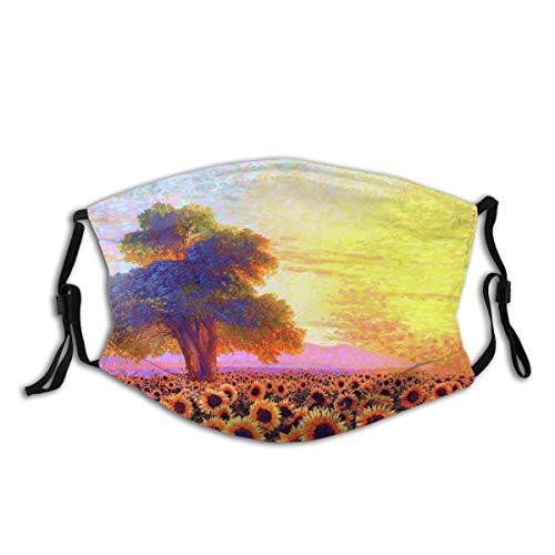 VAMIX Face Cover Sunset Sunflower Tree Modern Colorful Farm Mountain Hill Balaclava Unisex Reusable Windproof Anti-Dust Mouth Bandanas Outdoor Camping Motorcycle Running Neck Gaiter with 2 Filters
