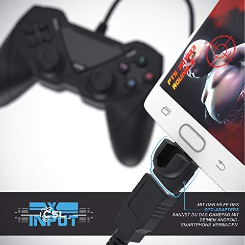 CSL - Gamepad für PC und Android - Dual Vibration - Plug and Play - Controller mit Direct-Input X-Input - schwarz