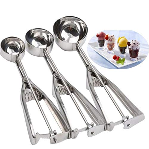AT27clekca Ice Cream Scoop Bar Tools & Accessories Scoop Spoon Ice Cream Scoop Metal Cookie Dough Muffin Spoon Kitchen Spherical Mould Tool - S
