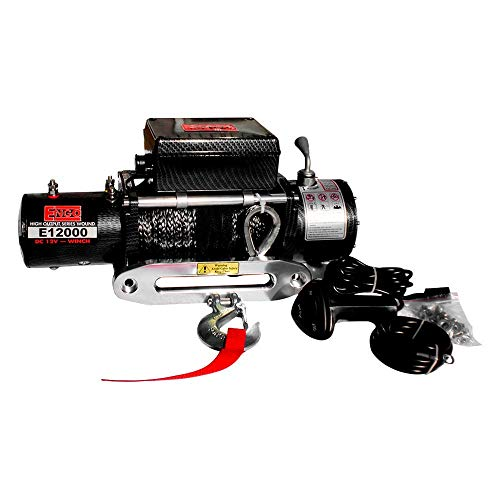 Engo 12,000 Lb. (5443Kg) 12 Volt Electric Winch with Synthetic Rope(Premium Finish)