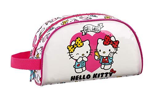 Hello Kitty Accesorio de Viaje Neceser, Bolsa de Aseo Adaptable a Carro, 26 cm, Rosa/Blanco