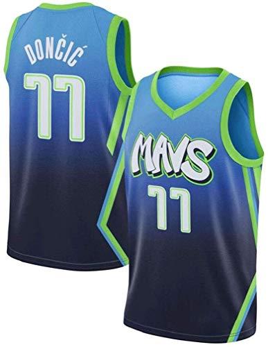 CspJersp Dallas Mavericks 77 Hombre Ropa de Baloncesto Doncic Jersey Camiseta de Baloncesto da Bordado (Blue, M)