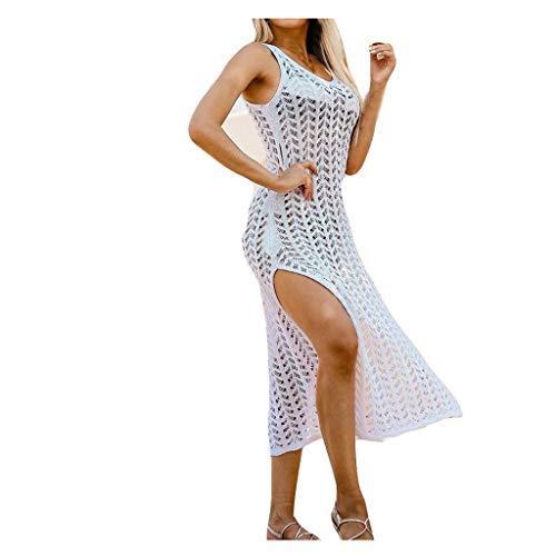 Hingpy Damen gestricktes Strandkleid Summer Beach Poncho Beach Holiday Badeanzug Bikini Cover-Ups Ärmelloses Unterhemd Kleid