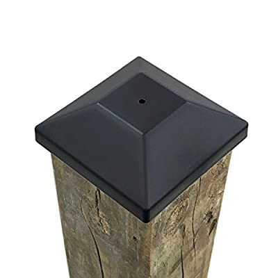 """(32 Pack) 4x4 Wood Fence Post Caps (3 5/8"""") Black, Decking Caps for Pressure Treated Wood Fence, Made in USA"""