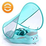 HECCEI Baby Swim Float with Canopy, Non-Inflatable Solid Baby Float, Upgrade Soft Waterproof Skin-Friendly Leather Material Infant Swim Float for Boys and Girls Infant/Baby/Toddler (Deluxe Edition)