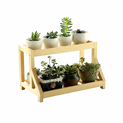 Desktop Solid Wood Small Flower Stand Eenvoudige 2-tier vensterbank vetplanten plank Potted Display Plant Rack Binnen