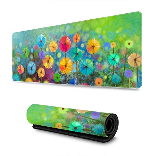 Spring Flowers Watercolor Nature Floral Blossom Gaming Mouse Pad, Long Extended XL Mousepad Desk Pad, Large Non-Slip Rubber Mice Pads Stitched Edges, 31.5'' X 11.8''