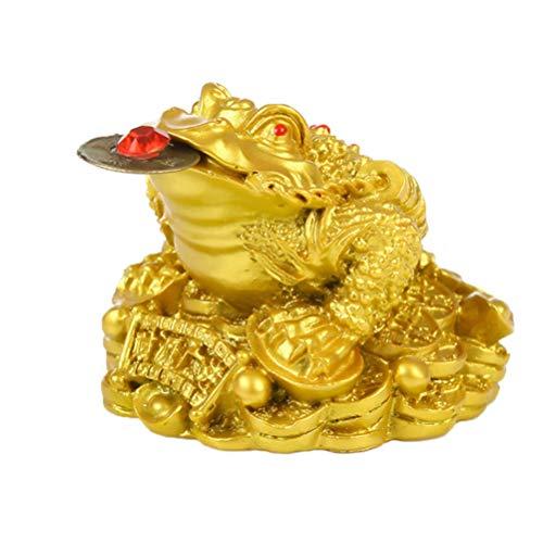 LIOOBO Feng Shui Geldfrosch Dreibeine Reichtum Traditionelle Frosch Geld Kröte Statue Auto Fengshui Dekor Wohlstand Home Dekoration, Kunstharz, goldfarben, 5*4.5cm