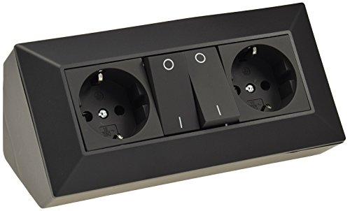 Ecksteckdose Unterbau-Steckdose 2x Steckdosen mit Schalter 230V Steckdosen-Verteiler mit Einzelschaltung Aufbau Eck-Montage für Küche Werkstatt Büro Schwarz