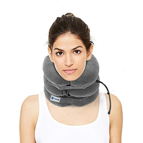 Cervical Neck Traction Device & Collar Brace for Pain Relief by POON, Adjustable Air Physical Therapy Posture Corrector for Spine Alignment, Inflatable Support Stretcher Pillow at Home/Office (Gray)