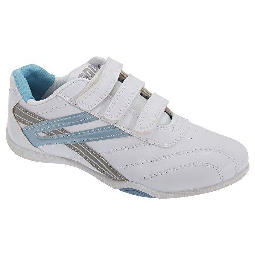 PDQ Damen Raven 3 Turnschuhe/Sneakers mit Klettverschluss (40,5 EU) (Weiß/Hellblau)