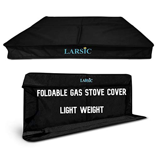 Larsic Gas Stove Burner Cover, Large, Trendy Dust, and Cat Hair Surface Protection for Modern Kitchens, Flat Serving or Food Prep Area, Foldable and Portable Design (24x21', Black)