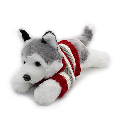 """Vintoys Siberian Husky In Red T Shirt Lying Plush Puppies Stuffed Animals Dogs Plush Toy 16"""""""