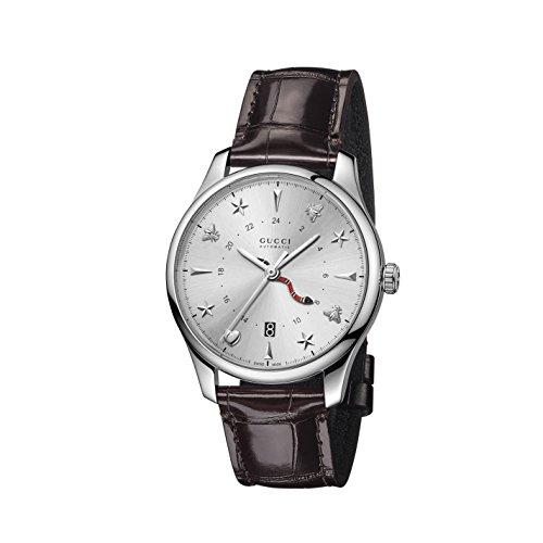 Gucci orologio 40mm automatico GMT cassa acciaio cint. pelle alligatore YA126332