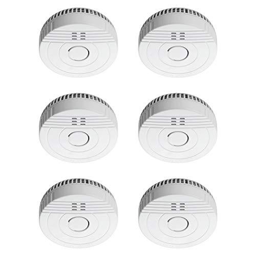 SEBSON Rauchwarnmelder 5 Jahres Batterie, DIN EN 14604, fotoelektrischer Rauchmelder GS536GC, Brandschutz, 6er Pack