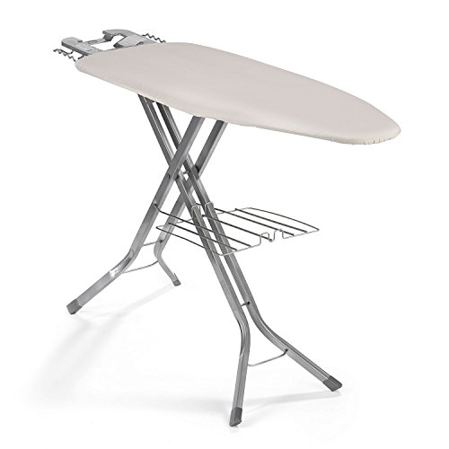 Polder IB-5119RM Oversized 51' x 19' Ultimate Ironing Board Station with Built-in Iron Rest, Garment Shelf, Thick Pad and 100% Cotton Cover, Natural