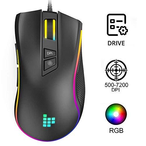 Tronsmart TG007 RGB Ratón Gaming,8 Botones Programables Profesional Cableado Ratones Gaming Ergonómico 6 DPI Adjustable,Definición de la Macro Compatible con Windows 7,8,10, XP,Vista,ME,Mac OS-Negro