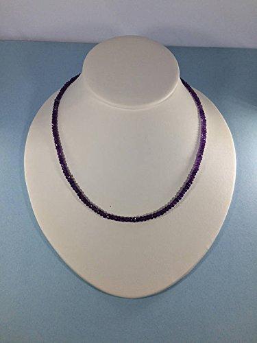 LOVEKUSH Collar de plata de ley 925 al por mayor de 3 a 4 mm con amatista morada y facetada de 16 pulgadas para hombres, mujeres, gf, bf y adultos.