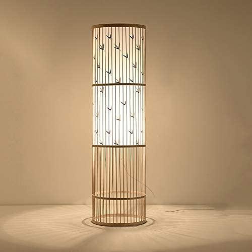 N/Z Home Equipment Chinese Bamboo Vine Floor Lamp Tea Room Living Room Bedside Warm Handmade Frame Vertical Lamp Reading Standard Lamp for Bedroom (Color : C)