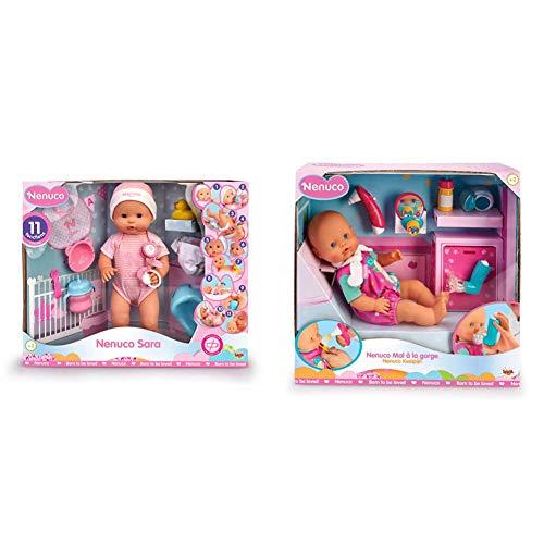 Nenuco Sara Muñeca Bebé cuidados 11 Funciones (700015154) + Dolor de Garganta Muñeca Bebé, para Niños y Niñas A Partir de 3 Años (700015152)