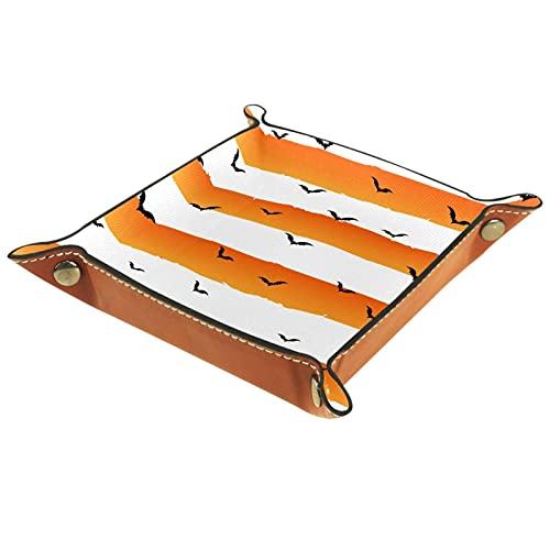 Fondo de Halloween con Grunge Stripes Bats-01 Organizador de mesita de noche de cuero para el hogar, oficina, viaje, cafetería, bar