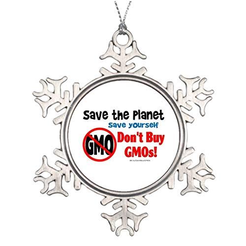 Adorno navideño de copo de nieve, salva el planeta, no compres gmos!...
