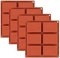 Lawei スライソーンソープ型 4個セット - 6個の長方形ソープ型 DIYソープ型 バントケーキ カップケーキ マフィン コーヒーケーキ プディング ソープ作り用 ブラウン