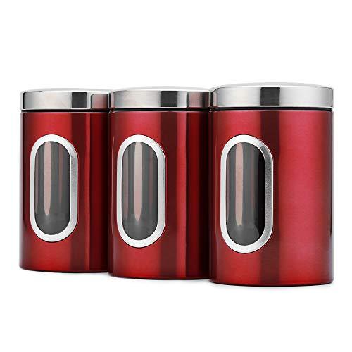 Annety Barattoli Rotondi 3 PCS Acciaio Inossidabile, Contenitori per Alimenti con Finestra Anteriore, Contenitori per Cibi con Coperchio per Tè/ Cereali/ Frutta secca/Cibo per Animali 1,5L (rosso)