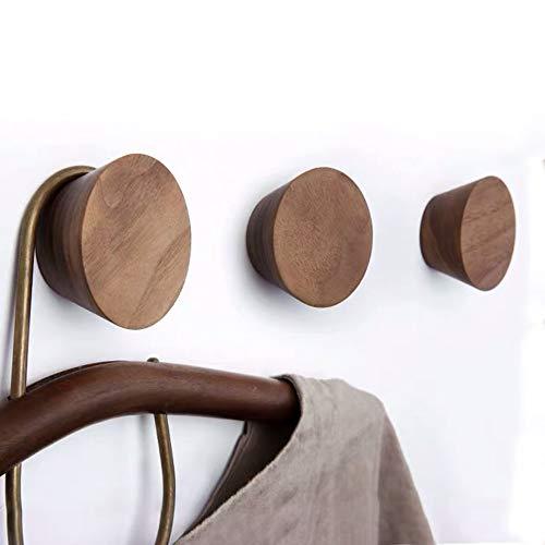 PERFECTIONSHOP 3 PCSNatural Wooden Coat HooksWall Mount Single Hat Bag HooksDecorative Cone Hooks Black walunt