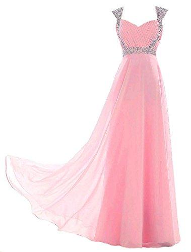 Edaier Damen Straps Perlen Lange Abendkleider Ballkleid Größe 44 Rosa