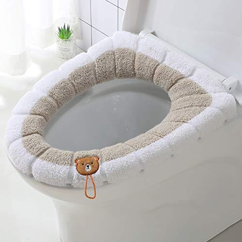 Yankuoo WC-bril huishouden met handgreep wc-bril cirkel winter warme en zachte sticker wasbaar zitkussen badkamer wc-zitkussen