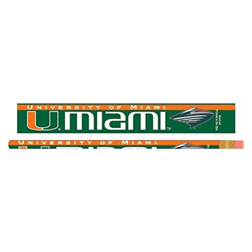 WinCraft NCAA University of Miami Pencil (6 Pack), Black